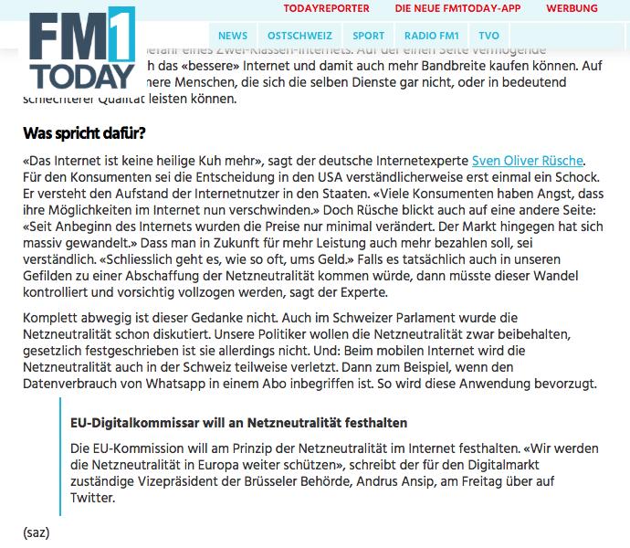 Auszug meines Interviews zum Thema Netzneutralität mit FM1today.