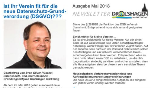 DSGVO im Verein - Gastbeitrag im Newsletter von Drolshagen Marketing e.V.