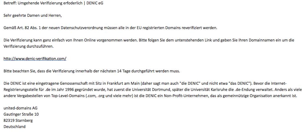 So sieht der plumpe Versuch einer DENIC Verifikation aus ...