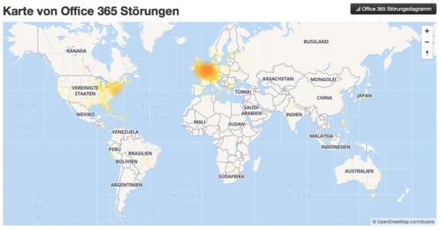 Gut, wenn man dann eine Multicloud hat: Microsoft kämpft aktuell gegen zahlreiche Cloudausfälle! Foto/Screenshot: SOR.